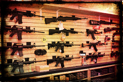 Assault weapons on display