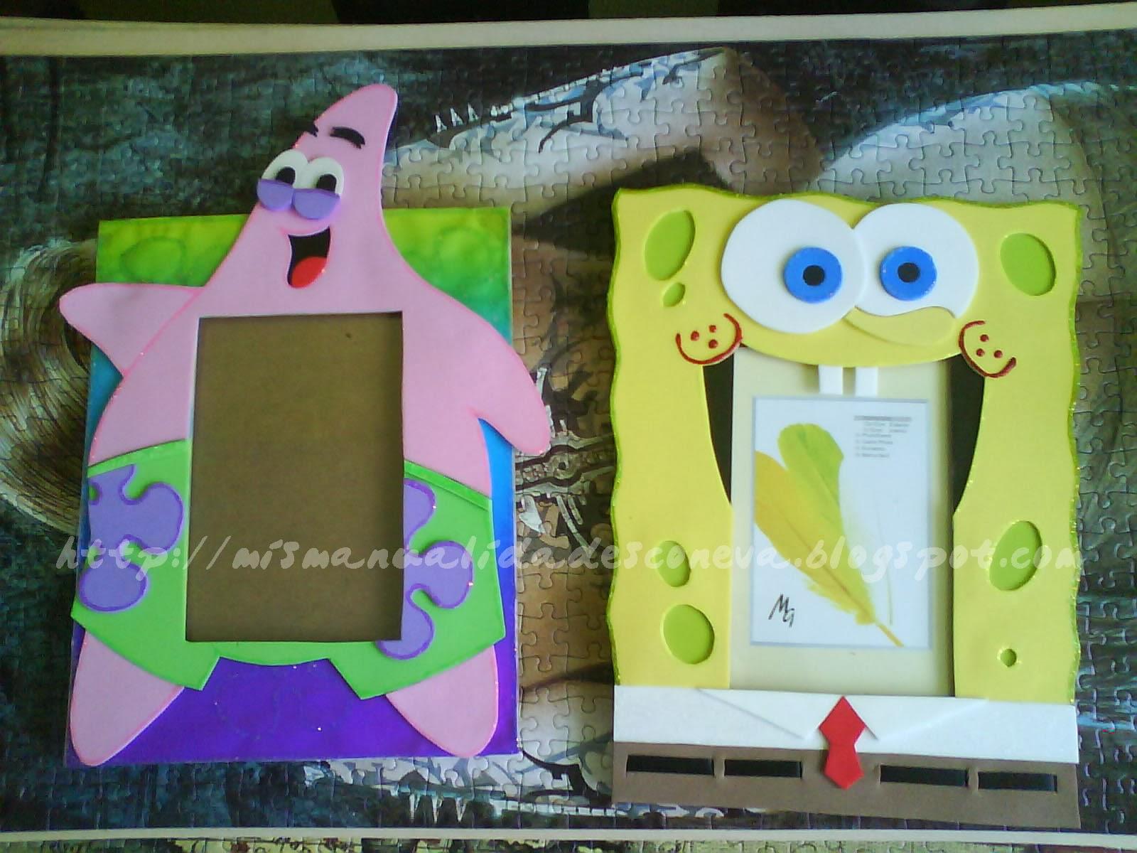 Mis manualidades con eva marcos de fotos de bob esponja y - Marcos fotos manualidades ...