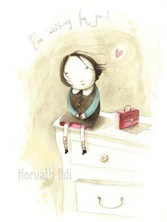 lány ül a szekényen és várja a szerelmét, girl is waiting for her love
