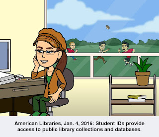 Cynthia M. Parkhill's Bitstrips comics avatar sits in front of a desktop computer at a classroom desk. Through a window behind her, three boys are shown running and tossing a football. The caption reads, 'American Libraries, Jan. 4, 2016: Student IDs provide access to public library collections and databases.'