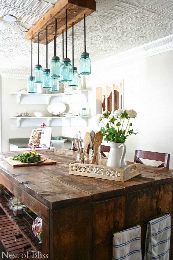 3 mason jar chandelier - Farmhouse Kitchen Decorating Ideas
