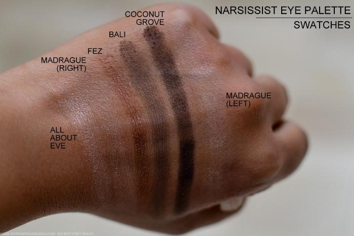NARS Narsissist Eyeshadow Palette Swatches All About Eve Madrague Fez Bali Coconut Grove Indian Darker Skin Beauty makeup Blog