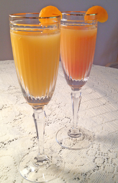Mimosa Cocktail on the left and Blushing Mimosa Cocktail