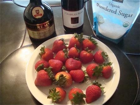 strawberries red wine