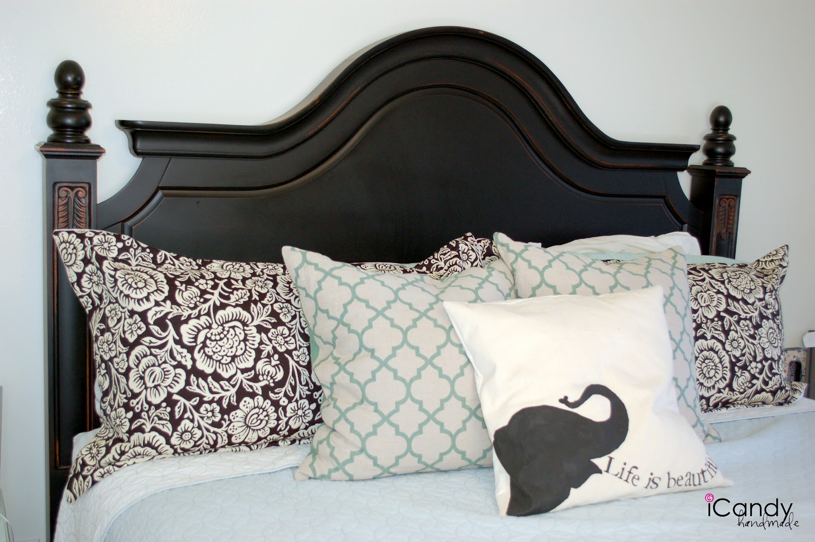 Diy king sized pillow shams and bed makeover icandy handmade for Z furniture outlet santa ana