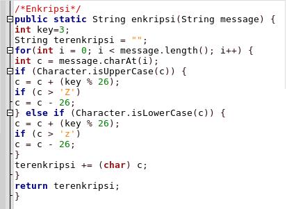 Enkripsi Java CaesarCipher