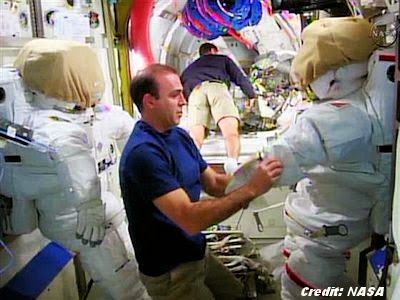 Astronauts Preparing for Space Walk