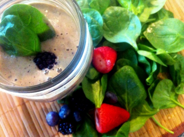green smoothie with wild berries