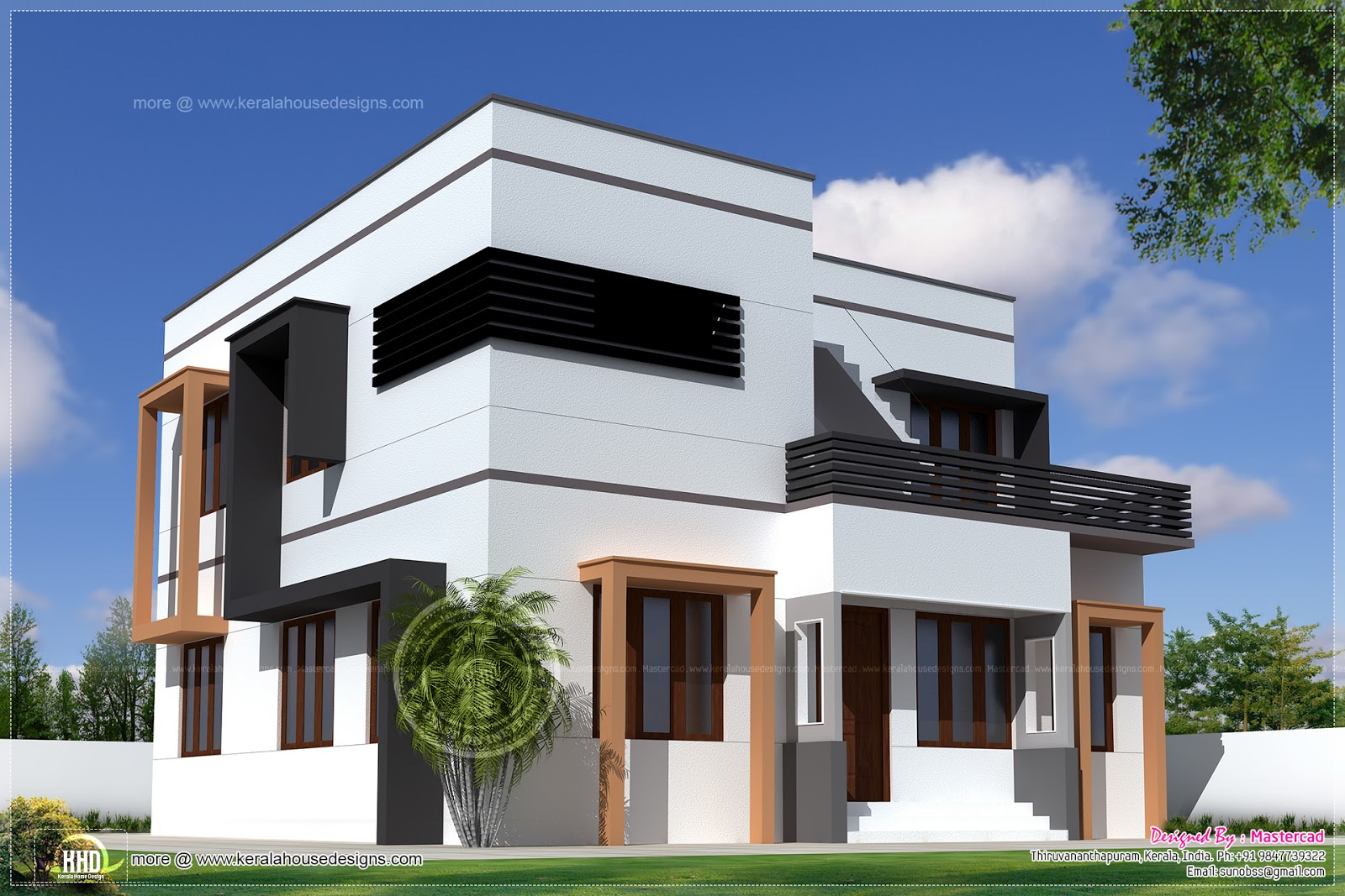 1627 square feet modern villa exterior kerala home for Modern house front design