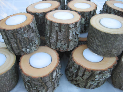 rustic log candle holders