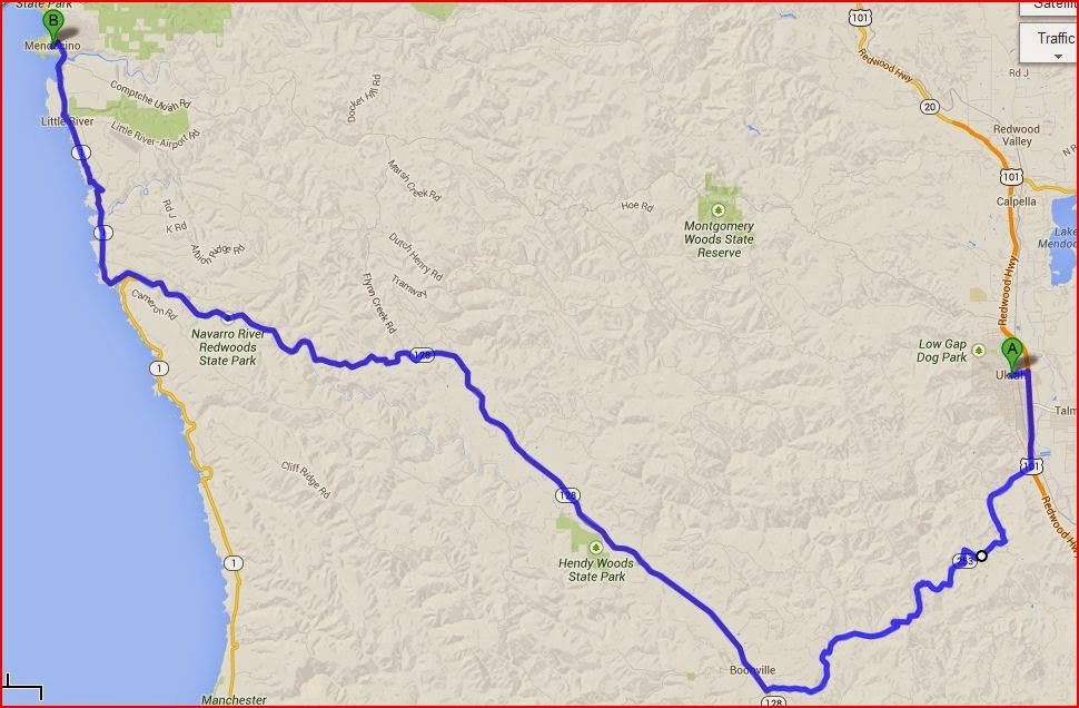 Map: Ukiah to Mendocino via US 101, CA 253, CA 128 and CA 1