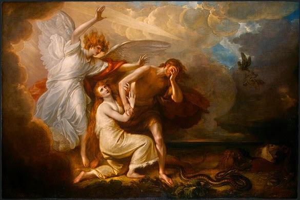 Expulsión de Adán y Eva del Paraíso de Benjamín West de Estados Unidos.