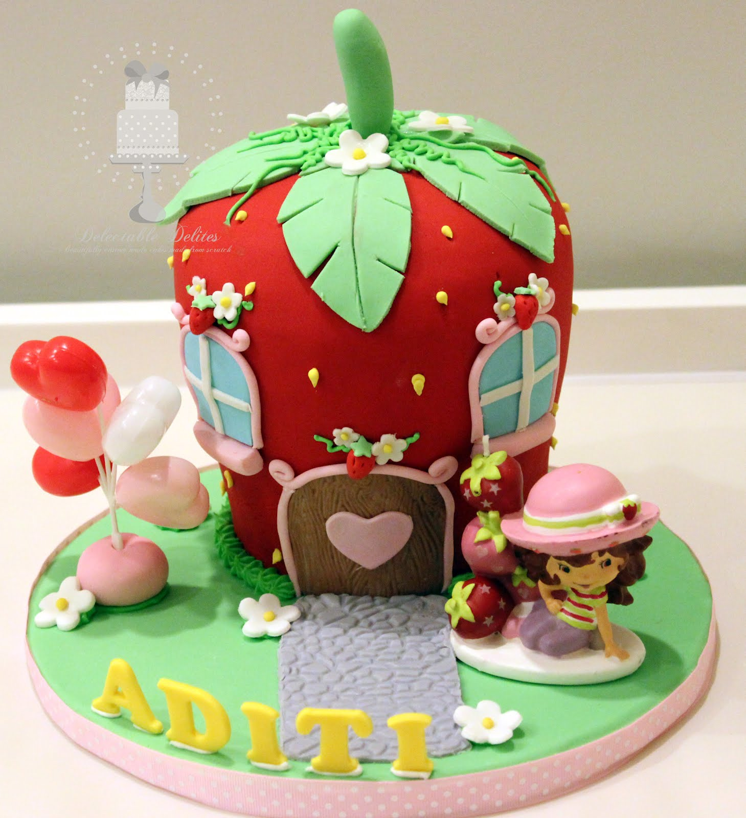 Birthday Cakes Images For Name Aditi ~ Delectable delites strawberry shortcake house for aditi s th birthday