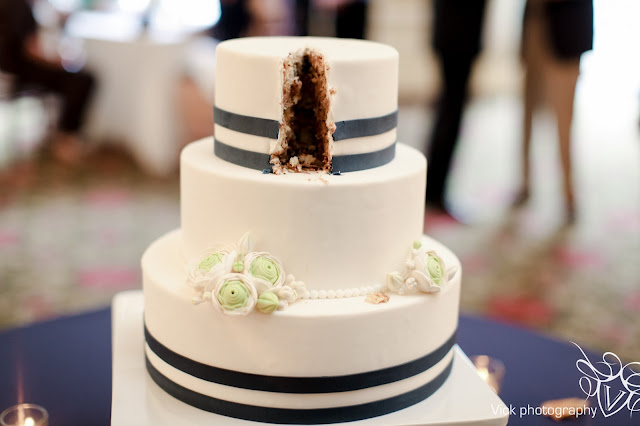 Navy and White Cake for Minneapolis Wedding