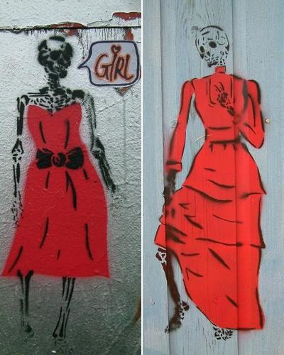 Pige-skeletter i rød kjole, ekstrem 'anoreksi'