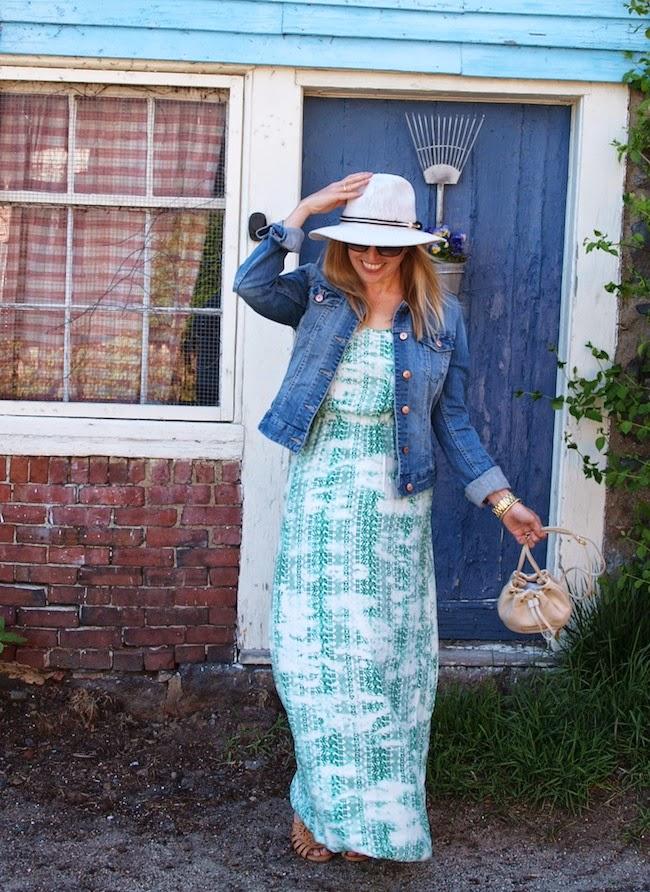 Parker Cassie Dress, Vince Camuto Hat, American Eagle denim jacket, Shoemint sandals, Zappos