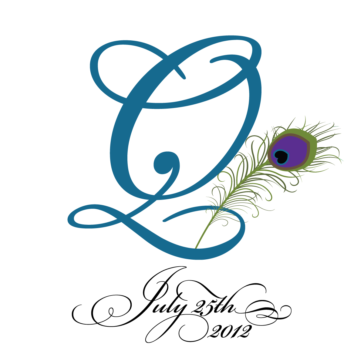 digital bunnys designs peacock feather monograms