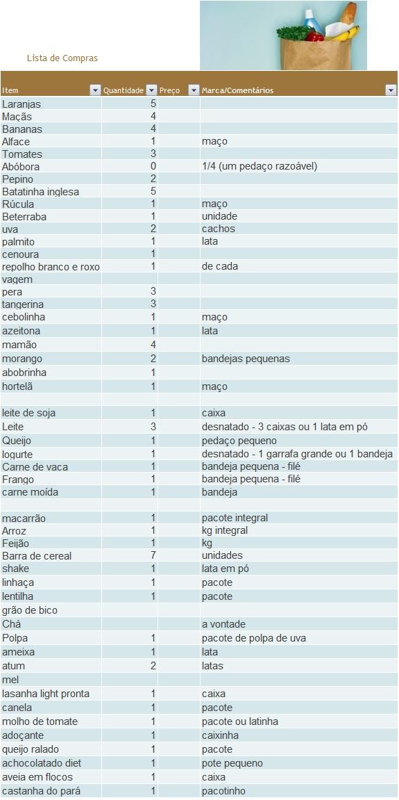 Muito Tem Salada? 2.0: Lista de compras para a dieta VJ04