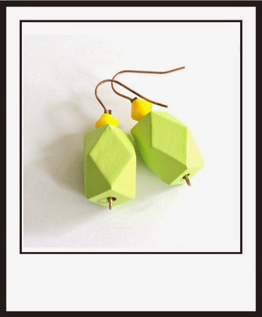 wooden earrings green