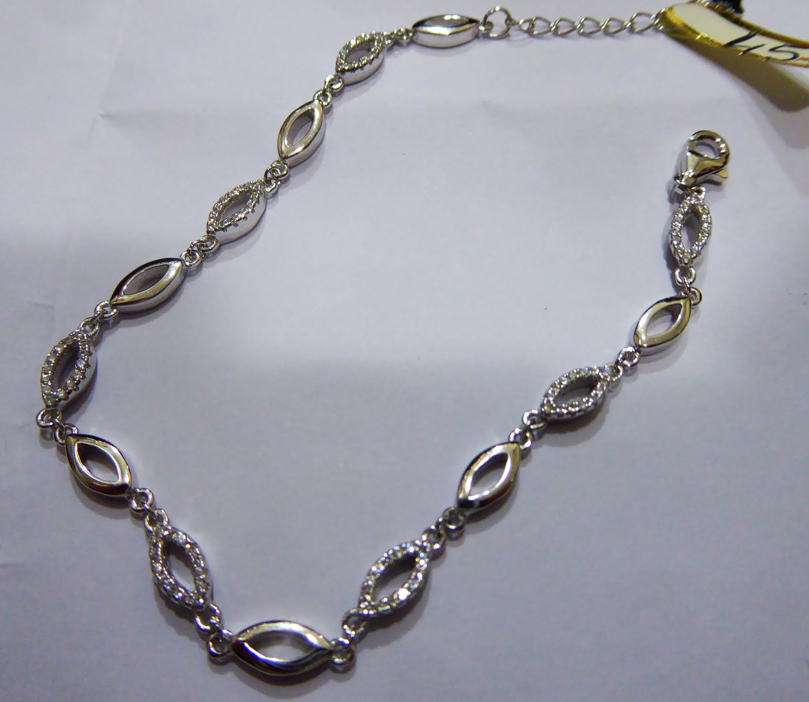 Pulsera de plata rodinada con circonitas