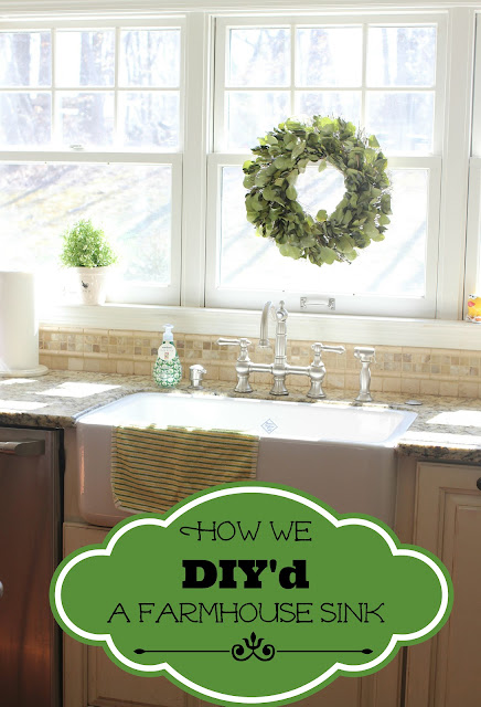 DIY Shaw farm sink installation with Graff bridge faucet via www.goldenboysandme.com