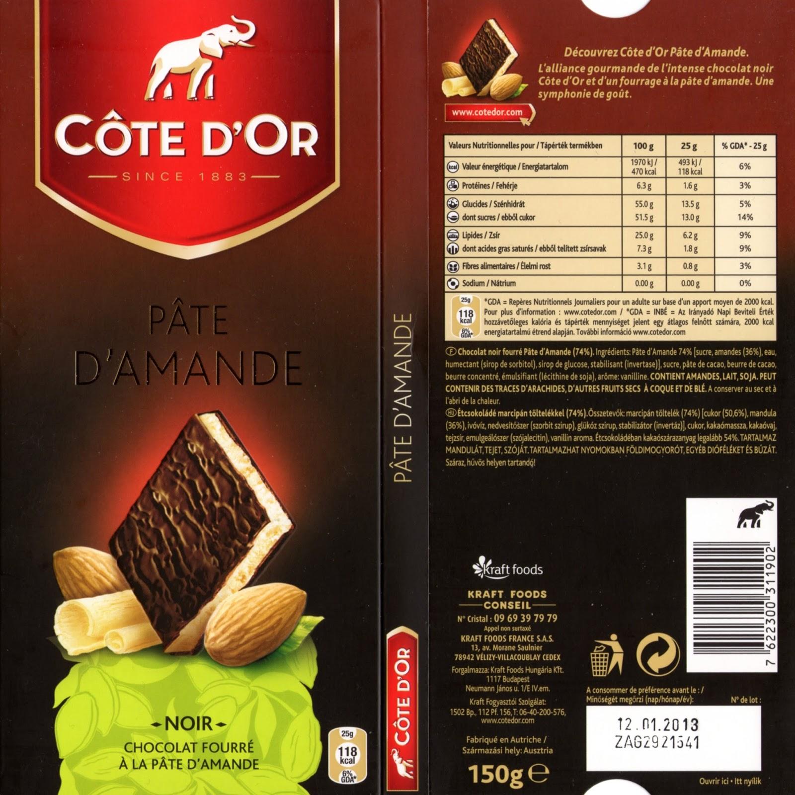 tablette de chocolat noir fourré côte d'or pâte d'amande