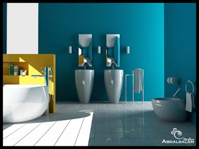 blue walls bathroom design