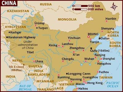 Kina Karta Regional Städer