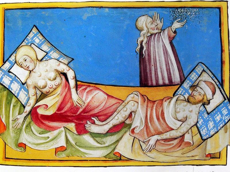 Grabado alemán que muestra los efectos de la peste negra