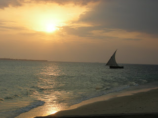 sunset on the ocean in Zanzibar