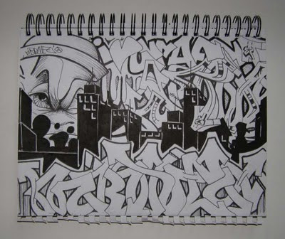 Graffiti_Mural_Sketches_Black_and_White_Themes_on_Book