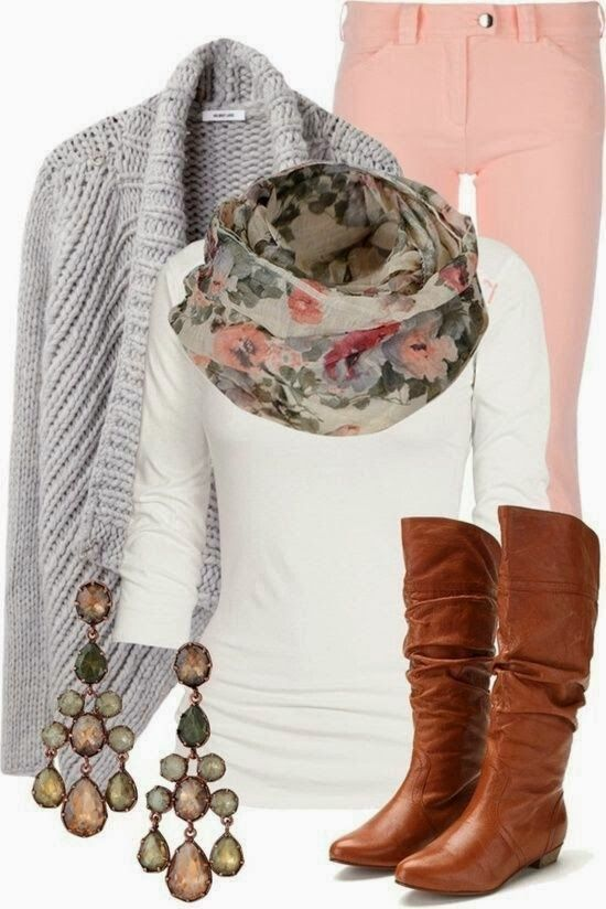 Winter Outfit With Long Boots And Scarf