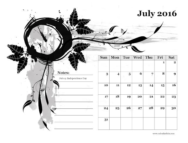 Calendario mensile - Luglio 2016