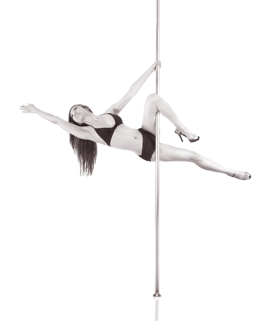Cupid hang - Pole-dance exercises involve weight training. Dancers support their entire body weight and build upper-body strength when performing their moves.
