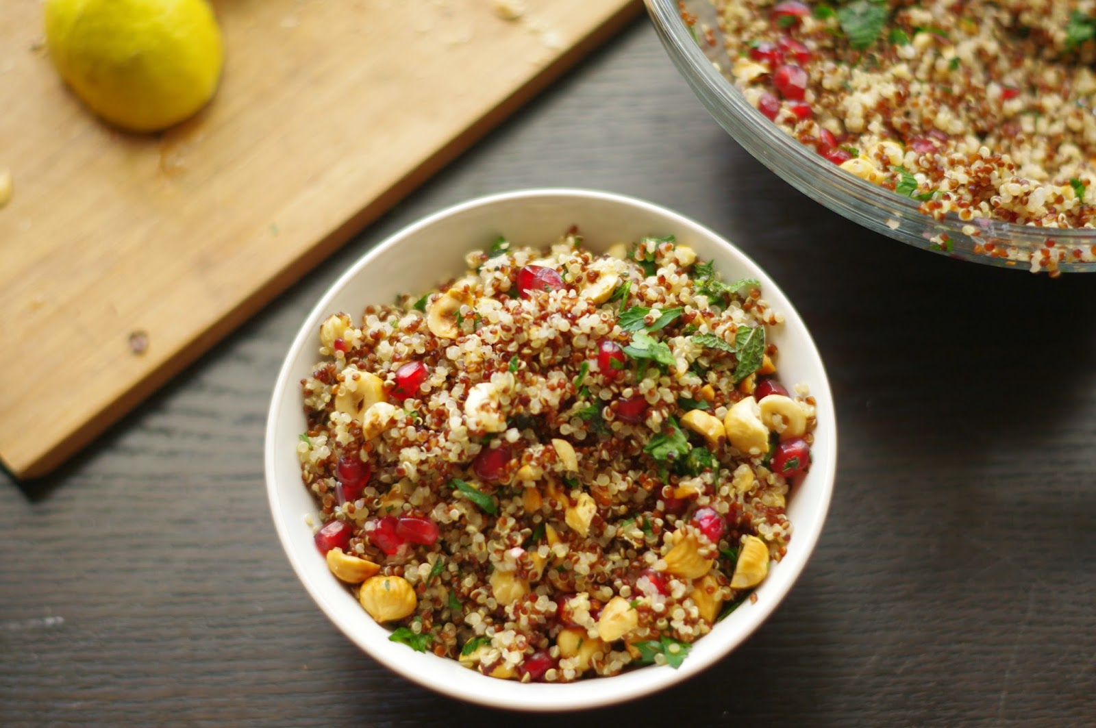 Hazelnut and Pomegranate Quinoa Salad