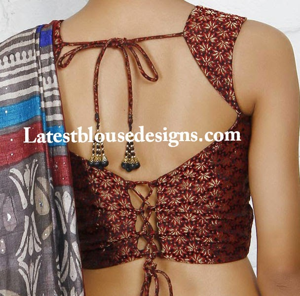latest back neck designs for saree blouse