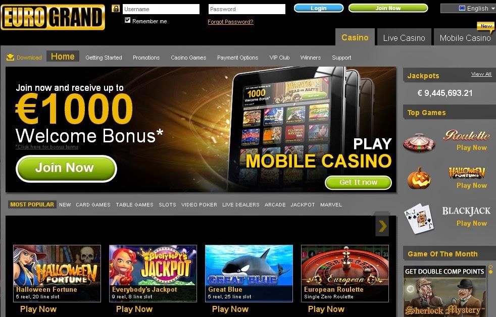 EuroGrand Casino Screen