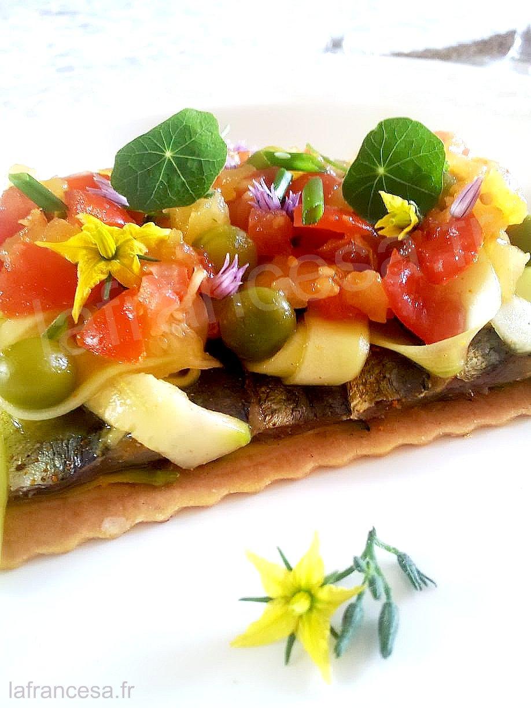 La francesa aux fourneaux recette l 39 huile d 39 olive tarte fine aux sardines marin es - Sardines au four sans odeur ...