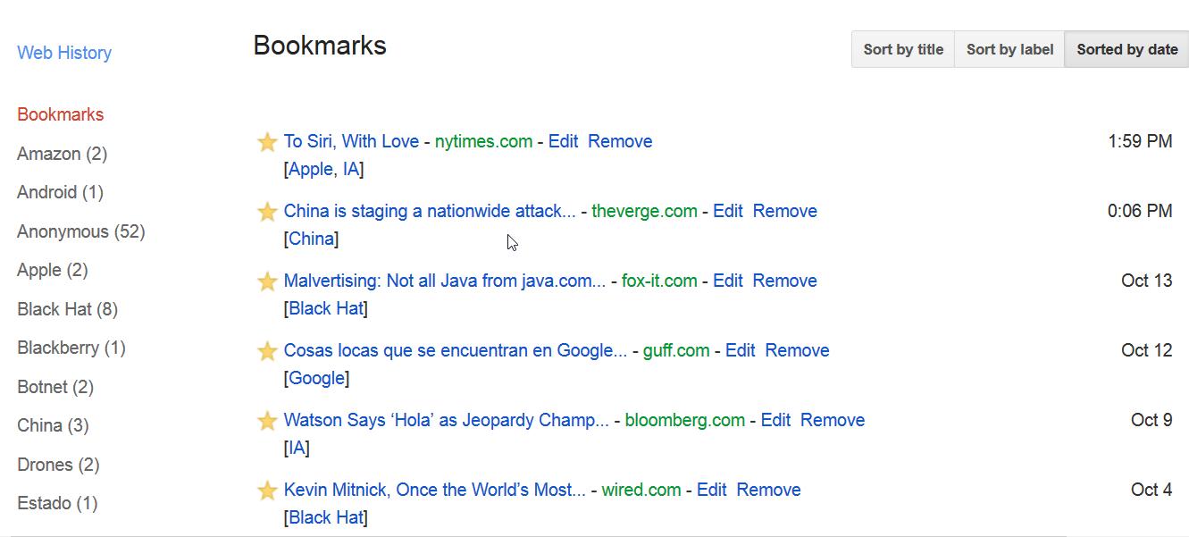 Servicios de Google: Bookmarks