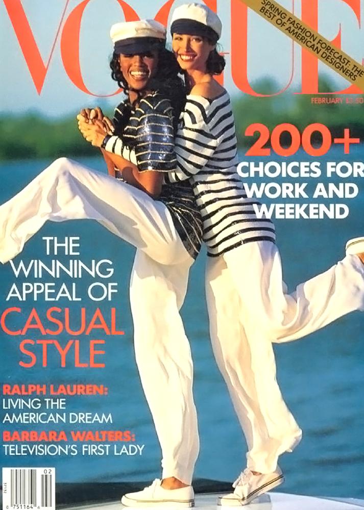 Christy Turlington & Naomi Campbell in Vogue US February 1992 (photography: Arthur Elgort)