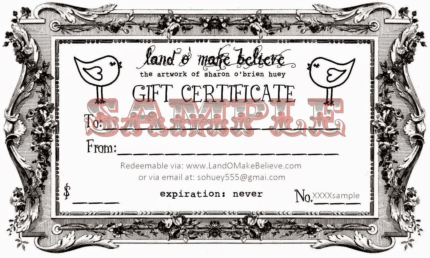 land o make believe gift certificates
