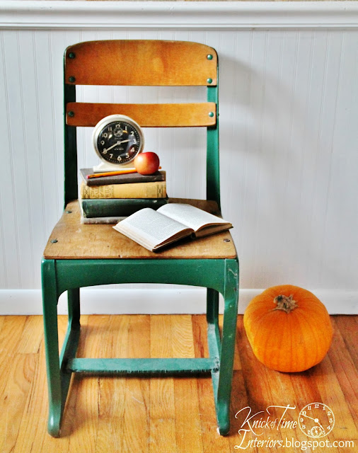 Mid-Century Antique Wooden School Chair via Knick of Time