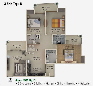 Ecociti :: Floor Plans,3 BHK Type B3 Bedrooms, 3 Toilets, Kitchen, Dining, Drawing, 4 Balconies Area - 1595 Sq. Ft.