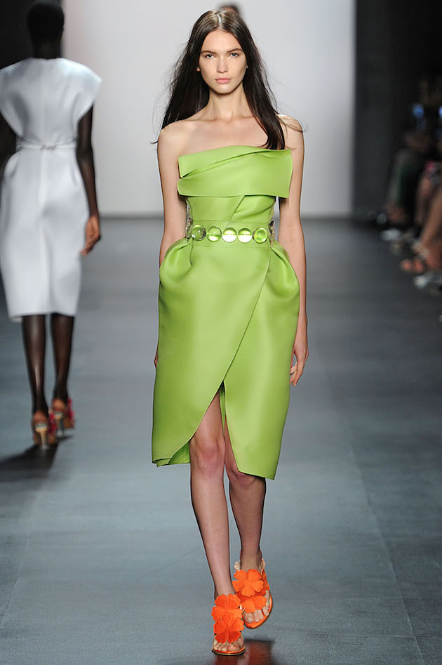 Angel Sanchez Spring 2016 green wrap dress