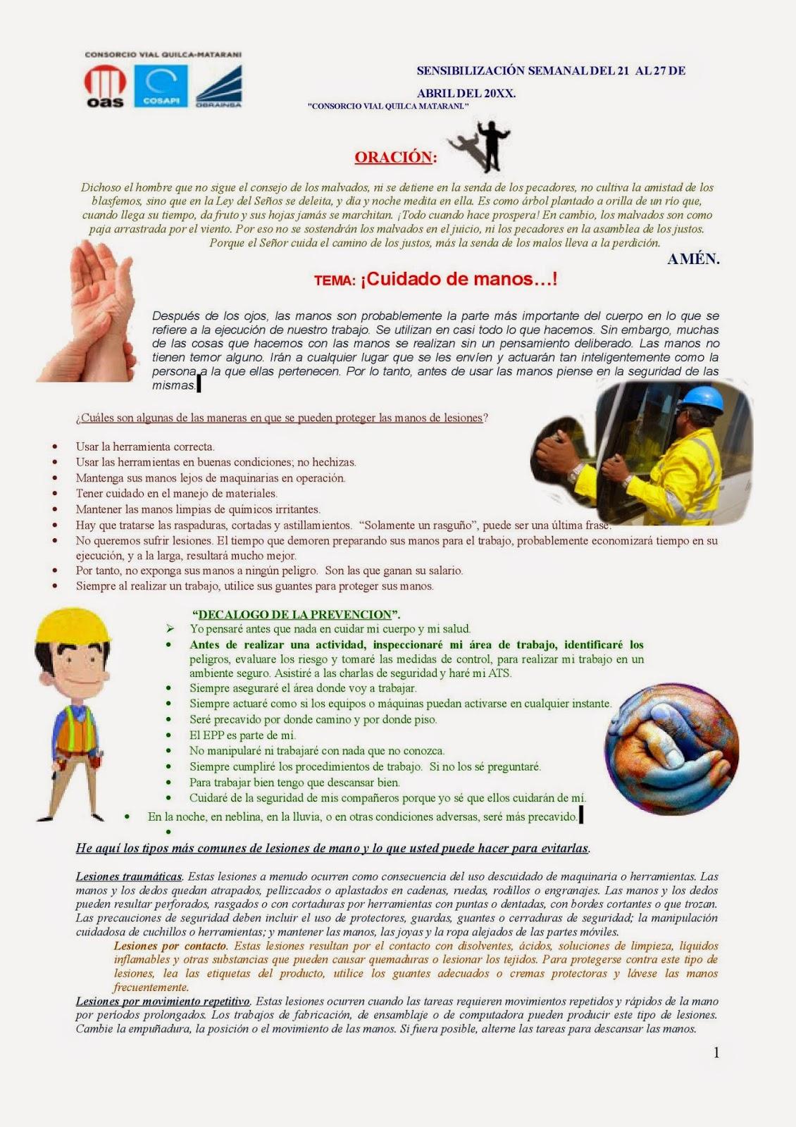 Charlas de sensibilizacion seguridad salud ocupacional for Eliminar electricidad estatica oficina