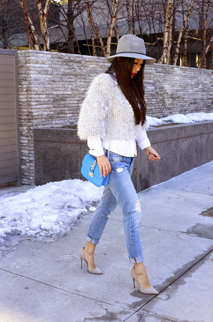 Janessa Leone victoria hat, 7fam boyfriend jeans, sheinside sweater, kendra scott harlie statement necklace, schutz heels, valentino lock bag, ija designs accessories, shopbop sale, best deal ever, fashion blog, street style, nyc