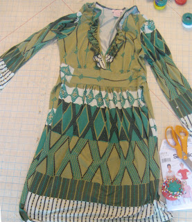Green patterned dress for upcycling