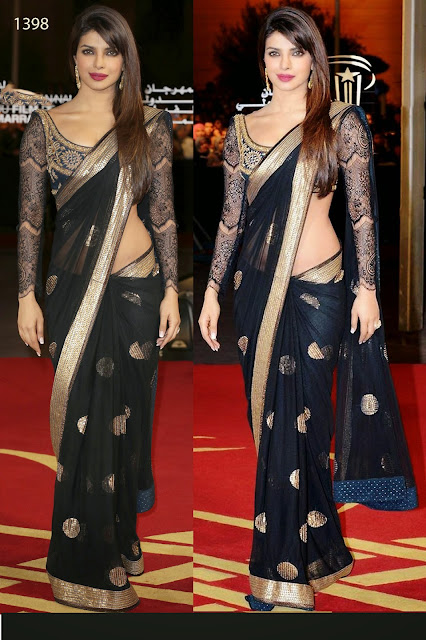 New Designer Bollywood Black Net Saree