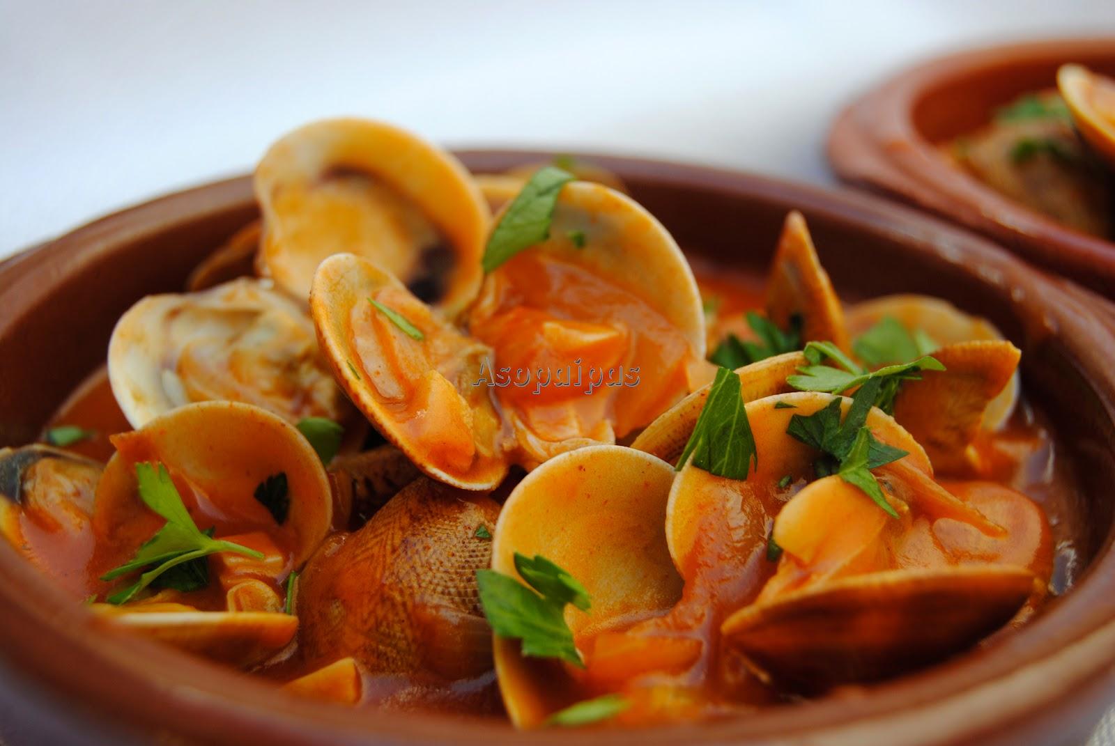 Almejas a la marinera receta asopaipas recetas de - Aperitivos de mariscos ...