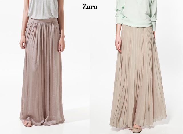 Faldas largas color maquillaje plisadas de Zara.